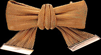 Gold Mesh Bow Brooch