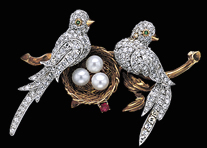 Art Nouveau Bird Brooch with Diamonds ,Pearls, Ruby and 2 Emerald