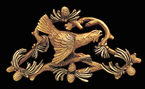 Art Nouveau Gold Bird Brooch Enamel