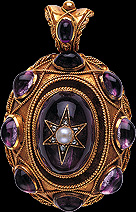 Victorian Pendant with Cabchone Amethyst